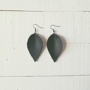 2 Inch | Black Petal Leather Earrings